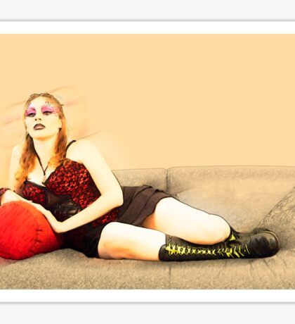 digitally enhanced picture of an arrogant model in red corset  Sticker