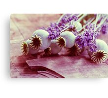 Large Poppy with lavender flowers in a cottage Still Life Canvas Print