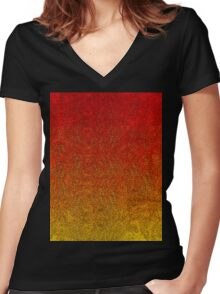 Flame Glitter Gradient Women's Fitted V-Neck T-Shirt
