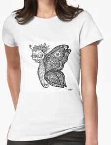 Day of the Dead Calavera Fairy with Zentangle Wings  Womens Fitted T-Shirt