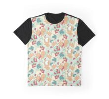 Shiba & Bird Strawberry Picnic Graphic T-Shirt