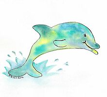 Watery Dolphin by dicoxwatercolor