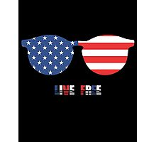Live Free, USA Independence Day 4th Of July T-Shirt Photographic Print