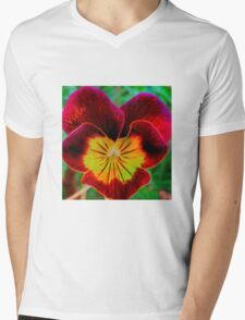 Viola Red Mens V-Neck T-Shirt