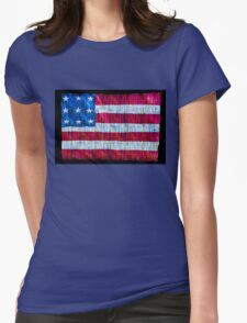Rustic American Flag Womens Fitted T-Shirt