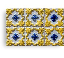 Raised yellow swirls and blue flowers on Portuguese azulejos Canvas Print
