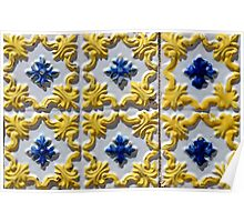 Raised yellow swirls and blue flowers on Portuguese azulejos Poster