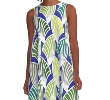 BLUE FRONDS & FANS  A-Line Dress