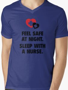 Feel Safe At Night. Sleep With A Nurse. Mens V-Neck T-Shirt