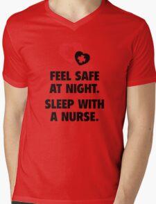 Feel Safe At Night. Sleep With A Nurse. Mens V-Neck T-Shirt