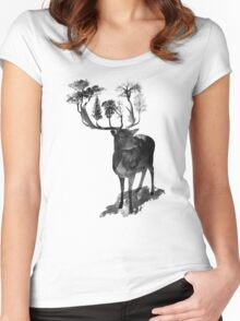 The Black Forrest Dear  Women's Fitted Scoop T-Shirt