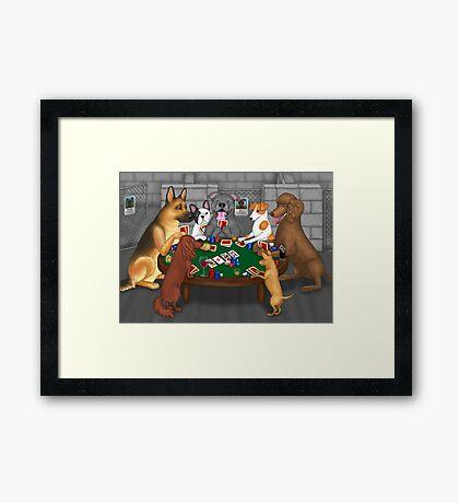 Poker Night at the Dog Shelter Framed Print
