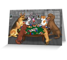 Poker Night at the Dog Shelter Greeting Card