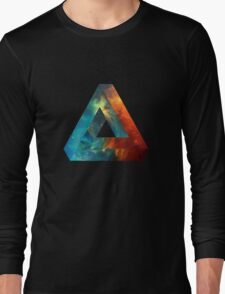 Abstract Geometry: Penrose Nebula (Fire Red/Orange/Blue) Long Sleeve T-Shirt