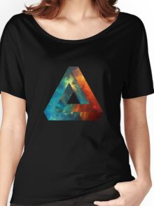 Abstract Geometry: Penrose Nebula (Fire Red/Orange/Blue) Women's Relaxed Fit T-Shirt