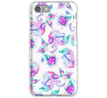 Modern pink turquoise hand painted floral paisley pattern illustration  iPhone Case/Skin