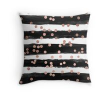 Girly rose gold confetti black watercolor stripes Throw Pillow