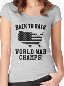 Back To Back World War Champs, US Indepedence Day 4th Of July T-Shirt Women's Fitted Scoop T-Shirt