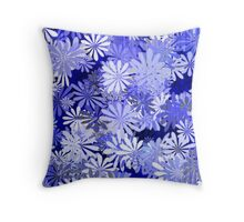 Blue Floral Print Throw Pillow