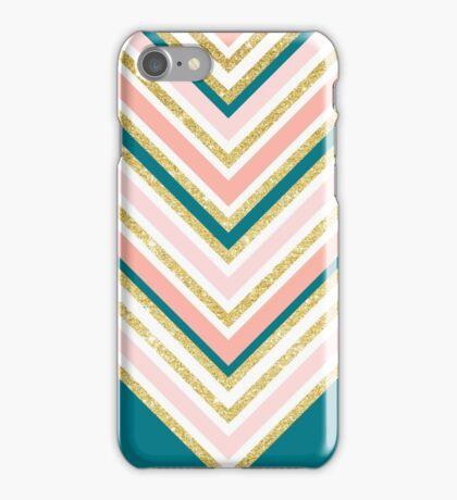 Modern simple chevron pink gold jade green iPhone Case/Skin