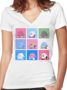 Kirby in warhol land Women's Fitted V-Neck T-Shirt