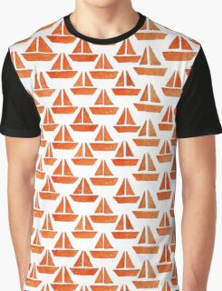 Orange Ships in Watercolor Graphic T-Shirt
