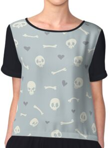 Cartoon Skulls with Hearts on Light Blue Background Seamless Pattern  Chiffon Top