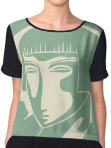 woman face 1928, green Women's Chiffon Top