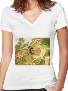Bumble bee on honeysuckle Women's Fitted V-Neck T-Shirt