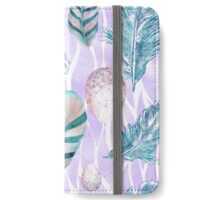 Feathers and Spotted Bird Eggs woodland nature pattern iPhone Wallet/Case/Skin