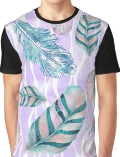 Feathers and Spotted Bird Eggs woodland nature pattern Graphic T-Shirt