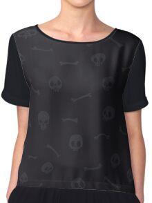 Gray Cartoon Skulls on Black Background Seamless Pattern Chiffon Top