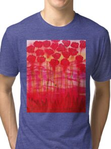 Red flowers in abstracted style Tri-blend T-Shirt
