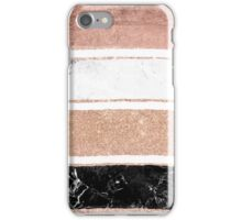 Faux rose gold glitter modern marble stripes pattern iPhone Case/Skin