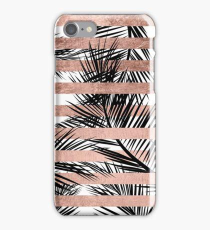 Trendy tropical palm trees chic rose gold stripes iPhone Case/Skin