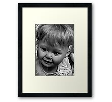 creepy doll Framed Print