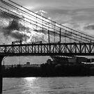 Cincinnati Suspension Bridge Black and White by mcstory
