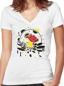 Fungi Splash Women's Fitted V-Neck T-Shirt