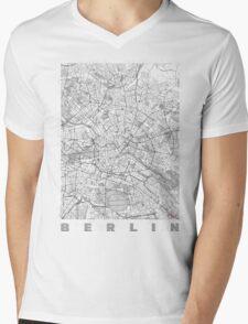 Berlin Map Line Mens V-Neck T-Shirt