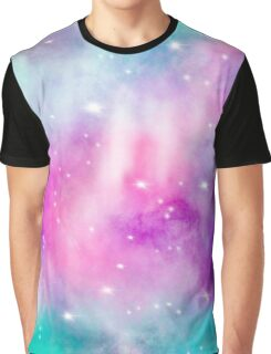 Trendy bright watercolor pastel nebula space hand painted Graphic T-Shirt