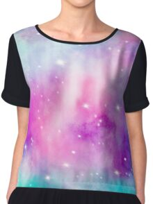 Trendy bright watercolor pastel nebula space hand painted Chiffon Top