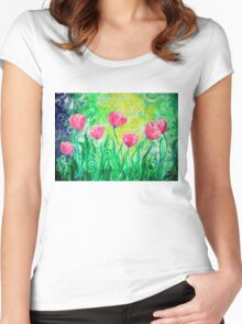 Dancing Tulips by Jan Marvin Women's Fitted Scoop T-Shirt