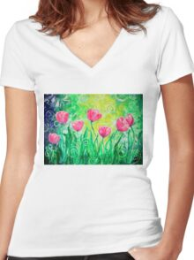Dancing Tulips by Jan Marvin Women's Fitted V-Neck T-Shirt