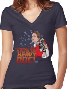 This Is Heavy Doc! Women's Fitted V-Neck T-Shirt