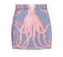 Jaunty Pink Antique Octopus on Thin navy and white Stripes Mini Skirt