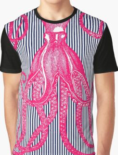 Hot Pink Antique Octopus with Navy and White Stripes Graphic T-Shirt