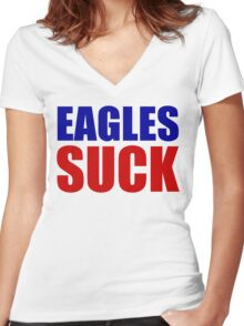 New York Giants - EAGLES SUCK Women's Fitted V-Neck T-Shirt