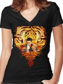 Jensen's eye of the tiger Women's Fitted V-Neck T-Shirt