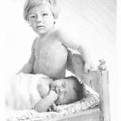 baby brothers drawing by Mike Theuer