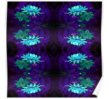 Blue on Blue flowers pattern Poster